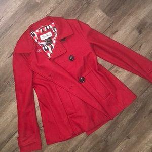 Deep red short pea-coat size S